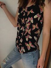 Womens Tank Sleeveless Top Butterfly Print Size S