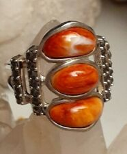 Southwestern Style Sterling Silver Spiny Oyster Shell Hematite Ring Size 7.5