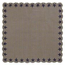 "NAVY STAR SCALLOPED TABLE CLOTH 60X60"" NAVY KHAKI CHECK APPLIQUE STARS"