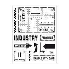 Viva Decor A5 Clear Silicone Stamps Set - Industrial Style #159