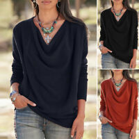 Womens Long Sleeve Pullover Cowl Neck Blouse Tee Shirt Casual Loose Top Pullover