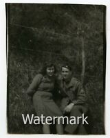 Vintage  photo  Military man 1940s WW2 US Soldier with Lady Italy #2