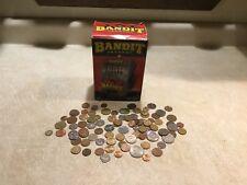 VINTAGE JACKPOT  BANDIT BANK SLOT MACHINE BOX & 1 # POUND WORLD COIN LOT