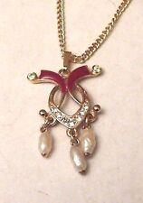 Collier pendentif bijou vintage couleur or émail grenat perles baroque  4808