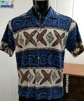 VTG RJC Hawaiian Blue Cotton Barkcloth Surfboards Island S/S Button Shirt MD