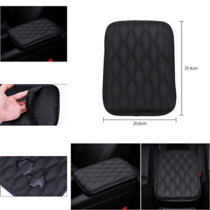 Black Leather Car Console Armrest Top Mat Liner Pad Cover Cushion Storage Box