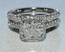 Engagement & Wedding Ring Set Solid 14k White Gold Halo 2 Ct Cushion Cut Diamond