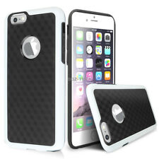 For Apple iPhone 6S 6 Carbon Fiber Design Slim Phone Case+Tempered Glass Screen