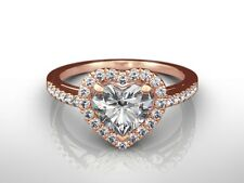 Solitaire Engagement Ring 14K Rose Gold 1.50 Ct Heart Cut E/Vvs2 Diamond
