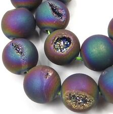 14mm Druzy Agate Matte Peacock Rainbow Round Beads (12 pcs)
