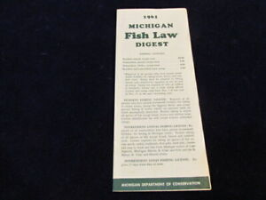 Vtg 1961 Michigan FISH LAW Digest Mich Dept. of Conservation Booklet DNR Q731