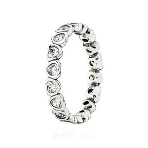 HEARTS Ring 925 Solid Sterling Silver CZ Stacking Band Size 6 / 52