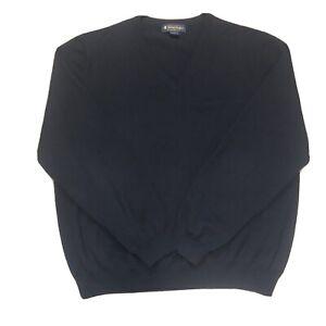 Brooks Brothers Stretch Mens Large Blue V Neck Sweater Merino Wool