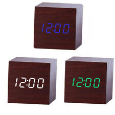 Electronic Digital WOODEN LED Alarm Clock Sounds Control Thermometer & Calendar