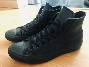 Converse Men's All Star Black Leather Hi Top Boots Trainers, Size UK 8!
