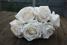 6 x RICH VINTAGE CREAM COLOURFAST FOAM COTTAGE ROSES 6cm WEDDING FLOWERS