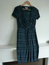 Ladies Lovely Per Una Turquoise Mix Knee Length Pleat Stretch Dress Size 10, Vgc