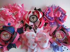 Lot 6 pc Stacked Bouquet Assortment Valentine Hair Bows Pink Purple Barbie Horse