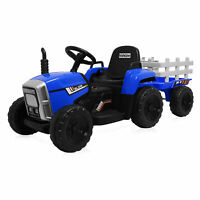 Kidzone 12V Kids Electric Tractor W/ Trailer Ride On, LED Bluetooth, 5 Colors
