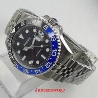 Sapphire PARNIS 40mm Automatic Men's Watch BLACK BLUE Ceremic Bezel GMT Steel