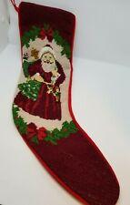 "22"" Needlepoint Santa Christmas Stocking, Vintage"