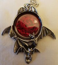 Pewter Blood Moon Pendant on Chain Alchemy Gothic