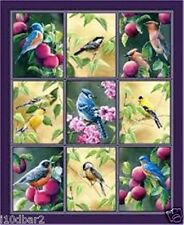 FRUIT OF THE VINE fabric panel Wild Wings BIRD fabric quilt top wall hanging BTP