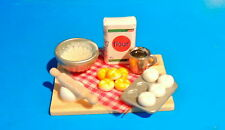 One Miniature tabletop baking bread  with wood trey 1:12 SCALE,