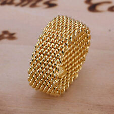 Lowest price wholesale solid silver gold plated mesh ring size 8+box SR064
