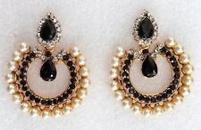 Designer Indian Pearls Gold Black Temple Earrings Traditional Wedding Jewellery