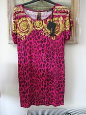"Pink print bodycon/beach dress Versace ""Mare"" 2013 44 size 10 BNWT"