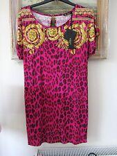 """Stampa Rosa Aderente Abito/vestito da spiaggia Versace """"MARE"""" 2013 44 Taglia 10 NUOVO CON ETICHETTA"""