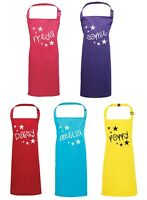 Girls Personalised Glitter Star Apron Baking Cooking Art Crafts Customised Name