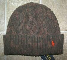 Men's POLO-RALPH LAUREN Wool Aran-Knit Camo PONY Cuffed Skull/ Beanie Hat