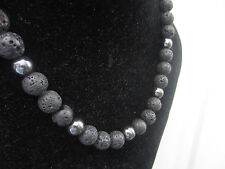 Necklace Hematite beads Black Volcanic Lava beads with 925 Silver Ends Clasp