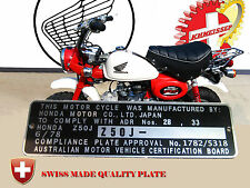 Australia Honda Z50J mini bike Monkey mfd date 6/78 Data Plate FRAME+ Engraving