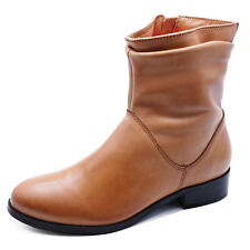 LADIES FLAT GENUINE LEATHER TAN ZIP-UP ANKLE CALF BOOTS COMFY SHOES SIZES 2-9