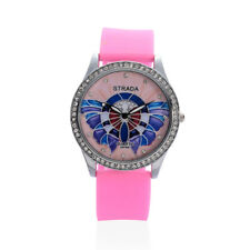 PINK BLUE BUTTERFLY WATCH DESIGNER PINK SILICONE AUSTRIAN CRYSTAL & STEEL BACK