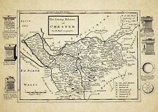 Cheshire  County Map by Herman Moll 1724 - Reproduction