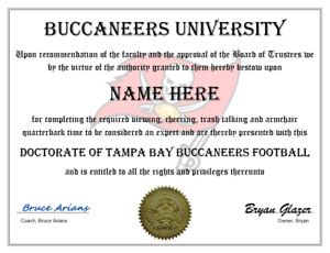 TAMPA BAY BUCCANEERS PERSONALIZED FAN DIPLOMA, GREAT GIFT