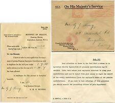 GB Ufficiale pagato MACCHINA 1934 Ministero della Salute a doppia falda OVALE + Lettera di G. King