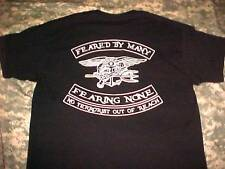 DEVGRU NAVY SEAL TEAM SIX  MORAL - FEARED BY MANY -  BLACK SHIRT SIZE: XX-LARGE