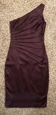 Wine One Shoulder Cocktail Dress Stretch Satin Small