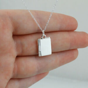 """Sterling Silver Book Locket Photo Picture Pendant Necklace, 18"""" Cable Chain"""
