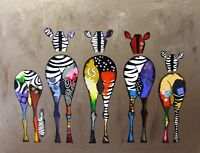 Funny Zebra Bum Painting Animals Wall Art Photo Poster / Canvas Picture Prints