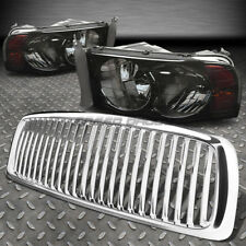 FOR 02-05 DODGE RAM CHROME FRONT GRILL+SMOKE HEAD LAMPS LIGHTS AMBER REFLECTOR