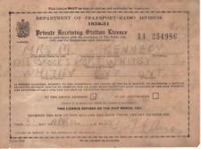 BH440 Vtg 1950 - 1951 Canada Private Radio Receiving Station License