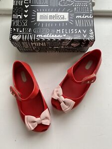 mini melissa Girls Ultragirl Red & Pink Bow Shoes Size 11 New