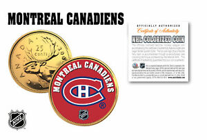 MONTREAL CANADIENS NHL Hockey 24K Gold Plated Canadian Quarter Coin * LICENSED *