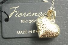MILOR 18k GOLD HEART Pendant Necklace bi-color diamond-cut Brand NEW 18'' chain